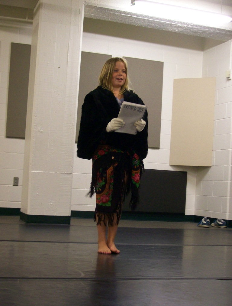 Jolee in character, performing her monologue