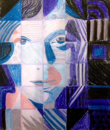 Chuck Close style grid portrait