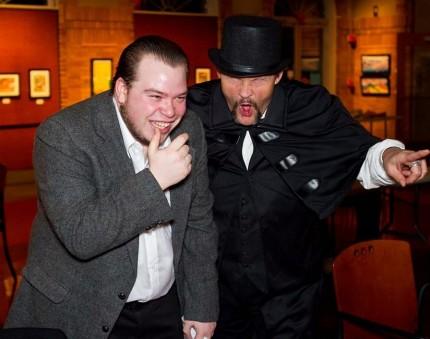 Chris Burton as Malachi Stack and Tony Van Pelt as the cabman. Photo by Joe Konz.