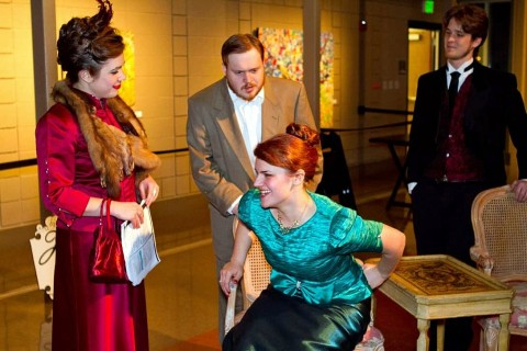 Laura Kelley as Dolly, Mike Merrick as Cornelius, Katie Schneider as Irene Molloy, and Robert Routier as Ambrose. Photo by Joe Konz.